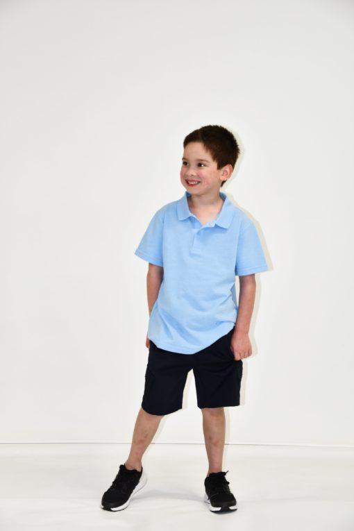 KNTC School Kids Uniform Polo Top Sky Blue boys Shorts Black