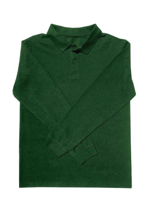 KNTC Long Sleeve polo shirt Kids uniform Bottle Green