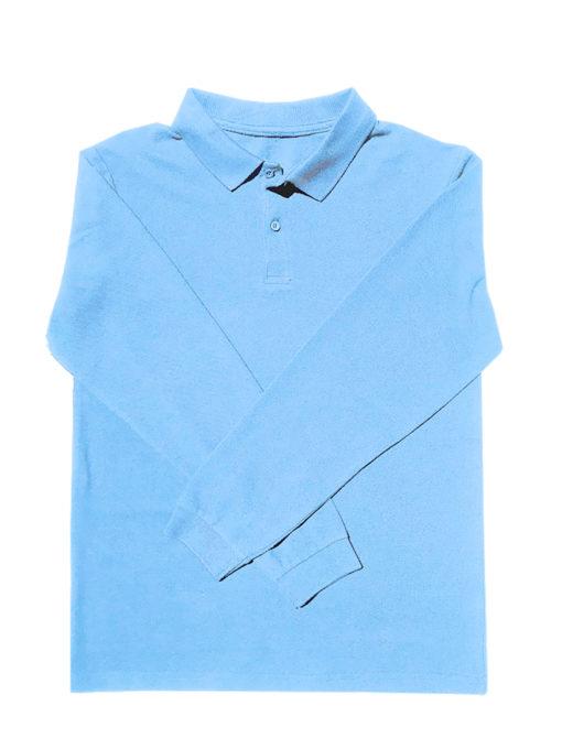 KNTC Long Sleeve polo shirt Kids uniform Sky Blue
