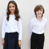 KNTC School Kids Uniform White Long Sleeve Polo Top Navy Girls skirt